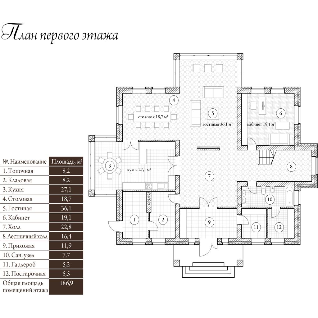План 1-го этажа. Проект Манхэттен 380 кв.м
