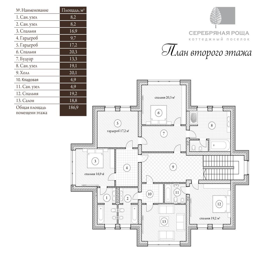 План 2-го этажа. Проект Манхэттен 380 кв.м
